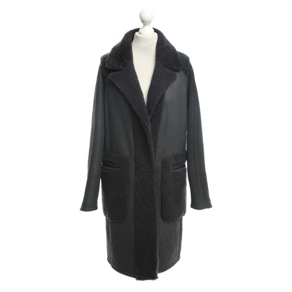Sprung Frères Paris Reversible sheepskin coat in dark gray