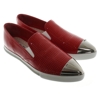 Miu Miu Slip-Ons in Red