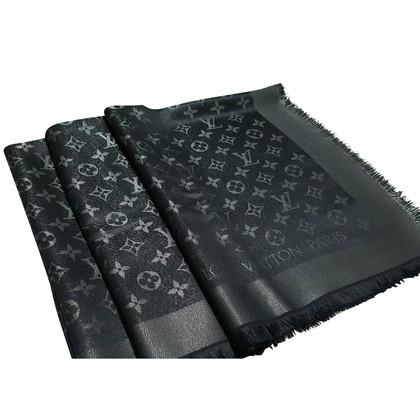 Louis Vuitton Zwarte Sjaal Monogram Silver Shine