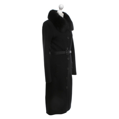 Christian Dior Knitted coat with fur collar
