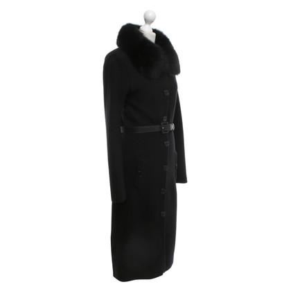 Christian Dior cappotto di maglia con collo in pelliccia