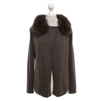 White T Cashmere cardigan in brown