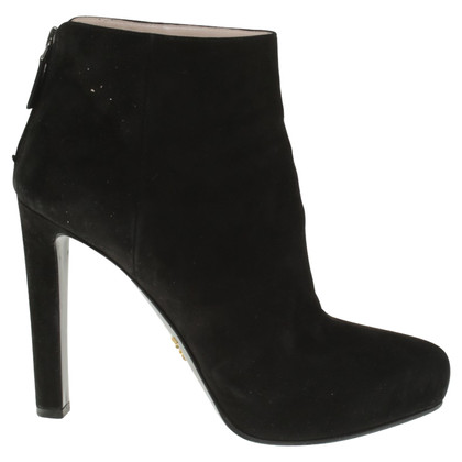 Prada Suede ankle boots in black