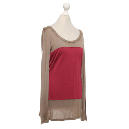 Max & Co top in taupe / red
