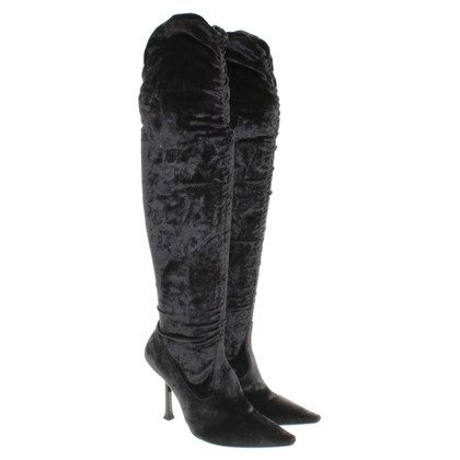 Casadei Velvet Boots in Grey