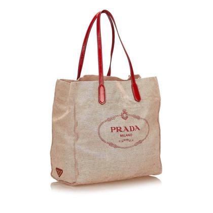 Prada Logo Canvas Tote Bag