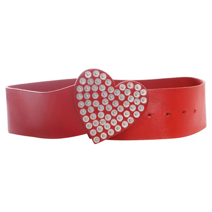 Moschino Leather belt in red