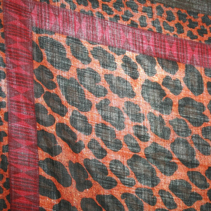 Borbonese Wool scarf with animal print