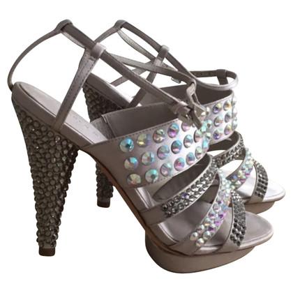 Karen Millen Beige Swarovski embellished sandals