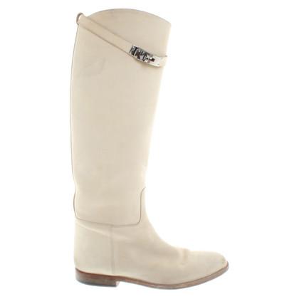 Hermès stivali di camoscio in beige