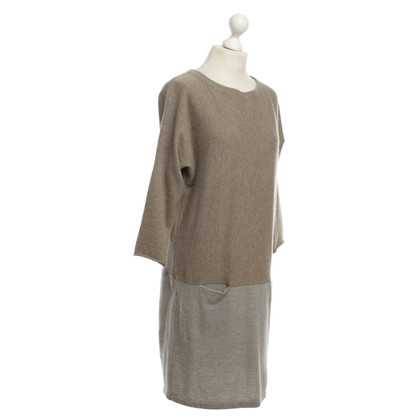Hemisphere Cashmere Dress in Beige / Grey