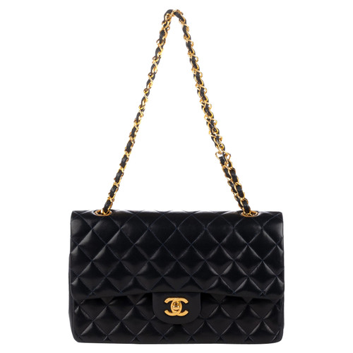 e5e5d5a05943 Chanel Classic Flap Bag Leather in Blue - Second Hand Chanel Classic ...