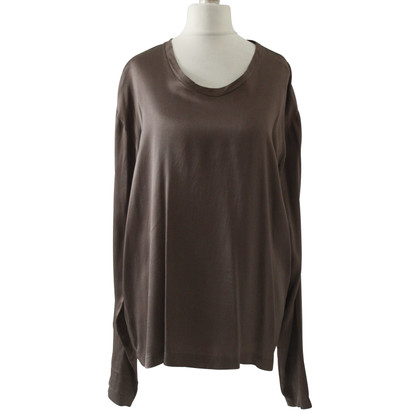 Yves Saint Laurent Blusa in seta marrone YSL