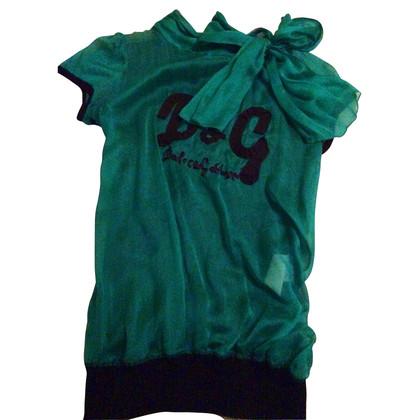 Dolce & Gabbana Groene zijde boog overhemd