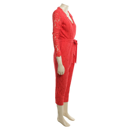 Temperley London Spitzenoverall in Rot
