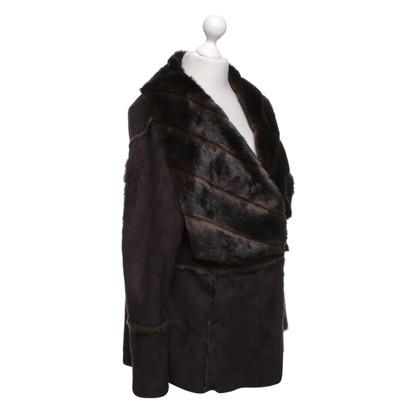 Marc Cain Faux fur jacket in donkerbruin