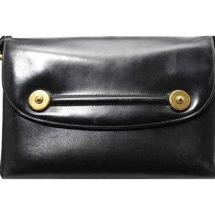 Hermès Zwart leer schouder tas