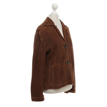 René Lezard giacca di pelle scamosciata in marrone