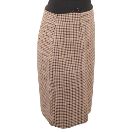 Balenciaga Checkered Wool Skirt