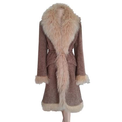 Ermanno Scervino Wool coat with Mongolian lamb fur