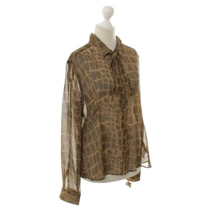 René Lezard Reptielen-print blouse