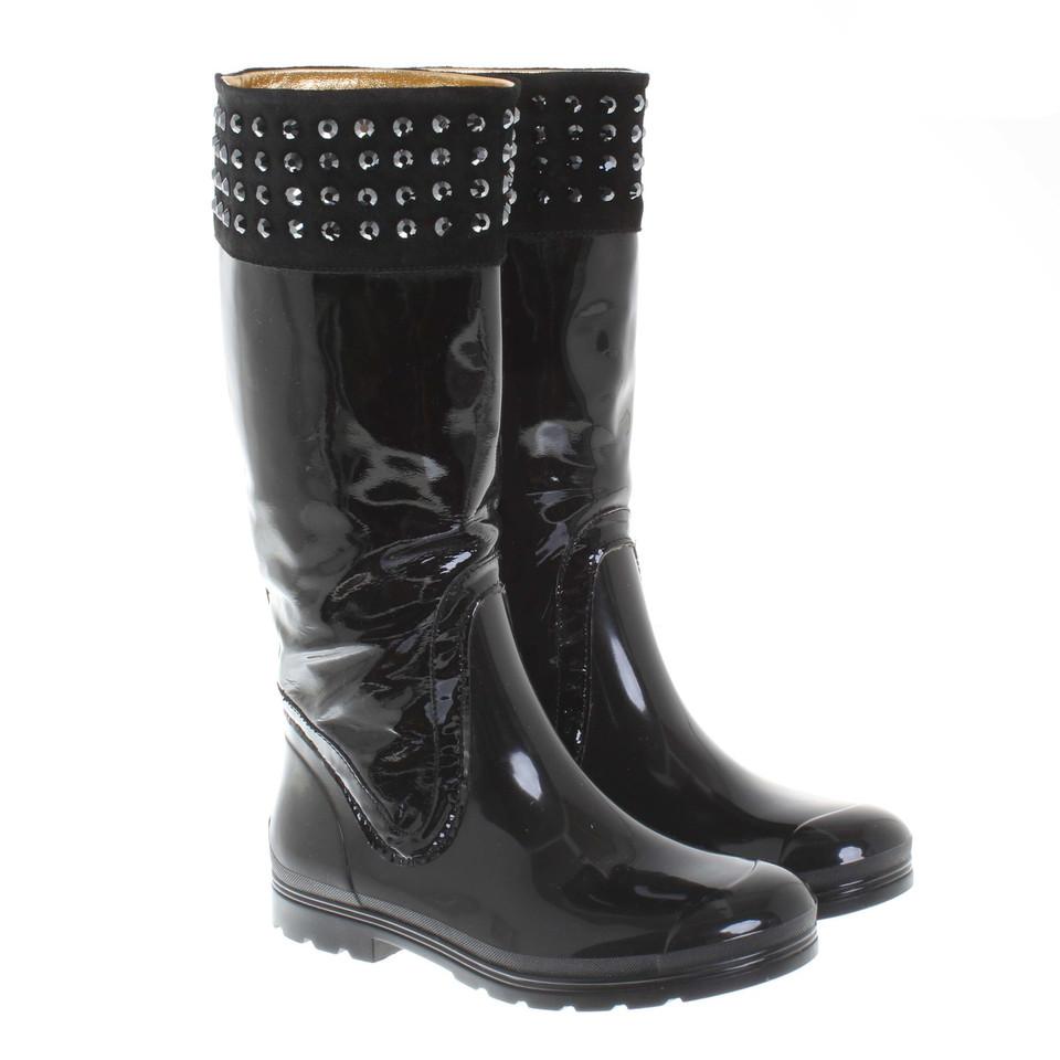 Rubberen Schoudertassen : Pinko rubberen laarzen in zwart koop tweedehands