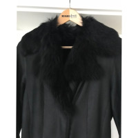 René Lezard Black leather coat with lambskin