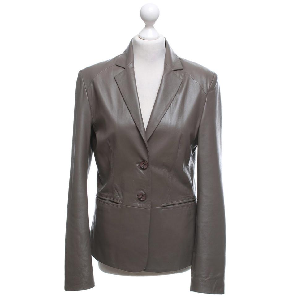 Arma Leather blazer in khaki