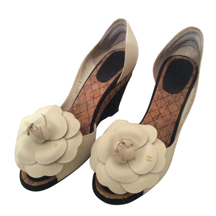 Chanel Peep-toes with camellia application
