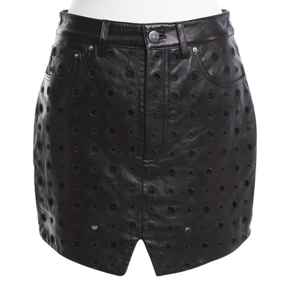 Iro Leather skirt with hole pattern