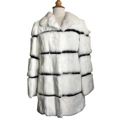 Blumarine Jacke mit Pelz Schwarz / Weiß