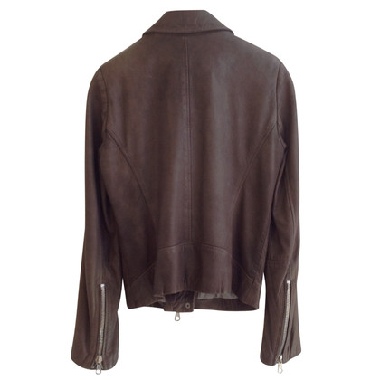 Set Leather Jacket in Taupe