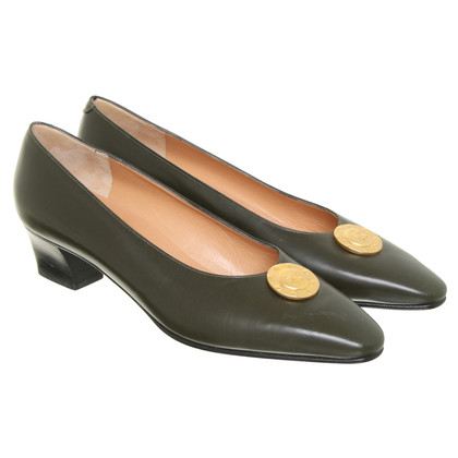 Céline Leather shoe boots in khaki
