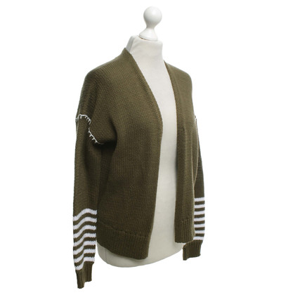 360 Sweater Strickjacke in Olivgrün/Weiß