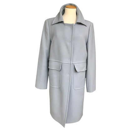 Piu & Piu cappotto di lana in blu argento