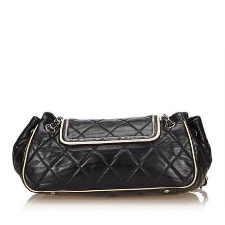 Chanel East West Chain Flapbag aus Leder Schwarz Billig Verkauf Bestseller 6HHdSBVmE