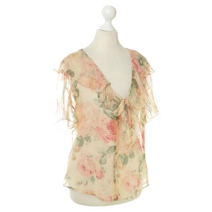 Ralph Lauren Zijden blouse met een bloemmotief