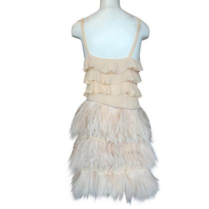 Blumarine Robe en soie avec des plumes