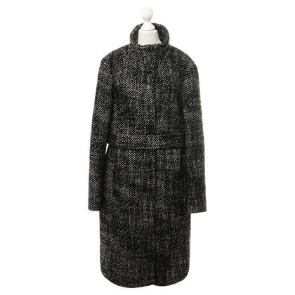Hugo Boss Wollmantel in Schwarz-Weiß