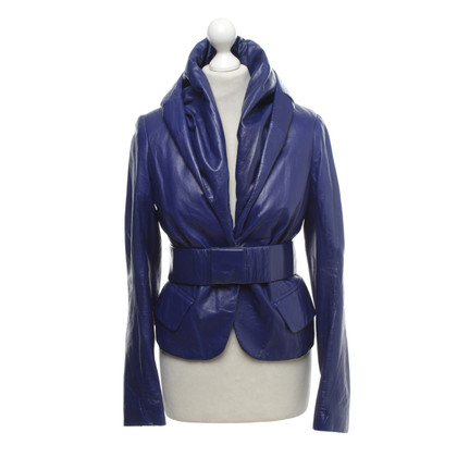 Donna Karan Leather jacket in royal blue