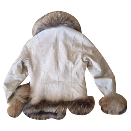 Oakwood suede jas van met vossenbont