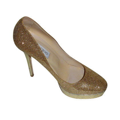 Jimmy Choo Cosmic Glitter Gold pumps