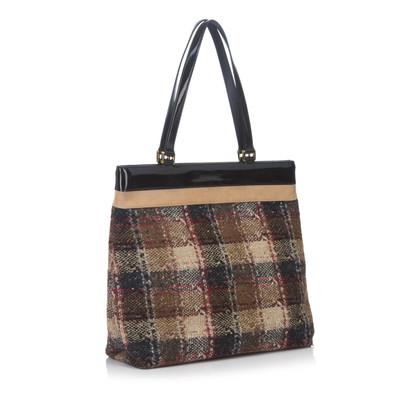 Burberry Plaid Wool Tote Bag