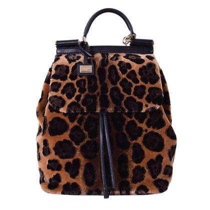 Dolce & Gabbana Backpack MISS SICILY with Leopard Print
