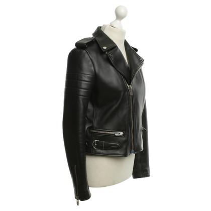 Bally Leren biker jacket in zwart