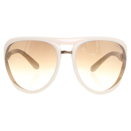 Tom Ford Cremefarbene Retro-Sonnenbrille