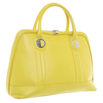Versace Lederhandtasche in Neongelb