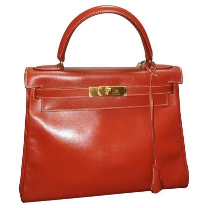 "Hermès ""Kelly Bag 28 Box Calf Leather Brique"""