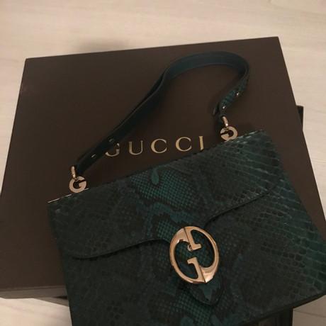 Gucci Schultertasche aus Pythonleder Petrol Verkauf Online-Shop Günstig Kaufen Blick 165vV