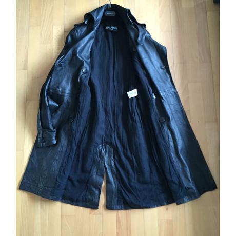 Balmain Mantel aus schwarzem Leder Schwarz Outlet Brandneue Unisex Günstig Kaufen Visum Zahlung SCPqc0scH